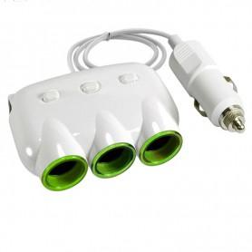 TRIPLE ADAPTADOR 3 BOCAS 12V + CARGADOR USB PARA AUTO HUB PREMIUM
