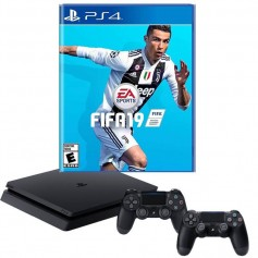 PLAYSTATION 4 PS4 CONSOLA SLIM 1TB + 2 JOYSTICK SONY + JUEGO FIFA 2018