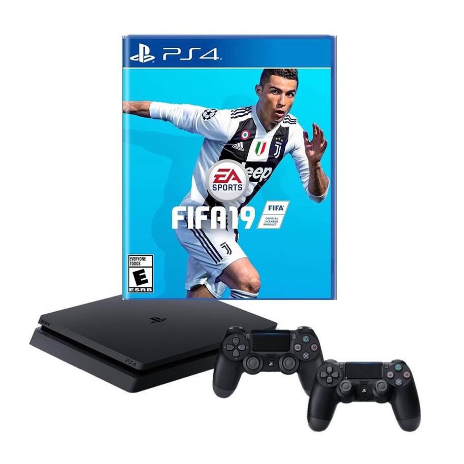 Playstation 4 Ps4 Consola Slim 1tb 2 Joystick Sony Juego Fifa 2019