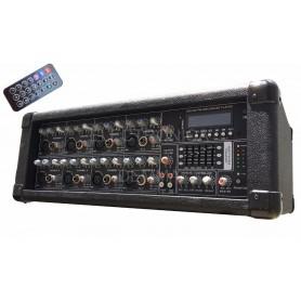 CONSOLA POTENCIADA MIXER 8 CANALES SANRAI JMP-8150 USB CONTROL REMOTO
