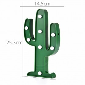 CARTEL LUMINOSO LED DECORATIVA CACTUS A PILA VERDE VELADOR