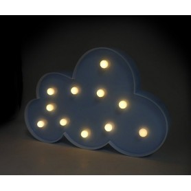 CARTEL LUMINOSO LED DECORATIVA NUBE A PILA COLOR CELESTE VELADOR