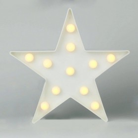 CARTEL LUMINOSO LED DECORATIVA ESTRELLA A PILA COLOR BLANCA VELADOR