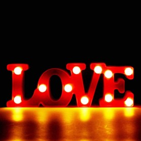 CARTEL LUMINOSO LED DECORATIVA LOVE A PILA COLOR ROJA VELADOR