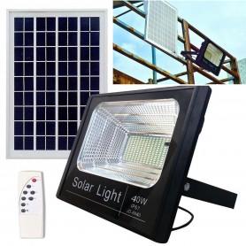REFLECTOR LED RECARGABLE 40W CON PANEL SOLAR Y CONTROL REMOTO