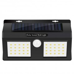 REFLECTOR LED PANEL SOLAR DOBLE SENSOR MOVIMIENTO BLANCO FRIO 12W 40 LED HYZ02 WATERPROF