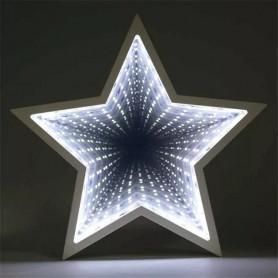 ESPEJO LUMINOSO EFECTO 3D ESTRELLA A PILAS DECORACION LED 81078
