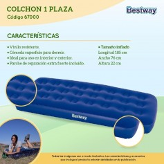 COLCHON INFLABLE 1 PLAZA BESTWAY CAMPING 185 X 76 X 22CM