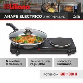ANAFE ELECTRICO 2 HORNALLAS LILIANA 1600W 800W AA902
