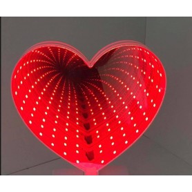 ESPEJO LUMINOSO EFECTO 3D CORAZON A PILAS DECORACION LED 81077