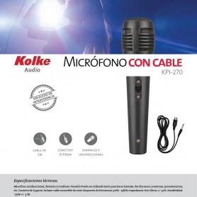 MICROFONO CON CABLE KOLKE KPI-270 KARAOKE CANON 3MTS 6.5MM PROFESIONAL