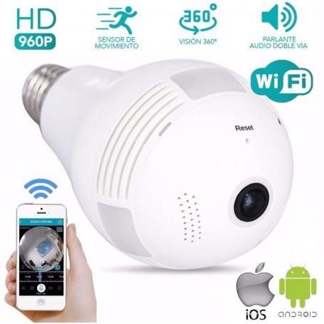 CAMARA IP WIFI LED FOCO LAMPARA HD 360 GRADOS OJO PEZ ESPIA GRABA SOPORTA MICRO SD Espia Graba