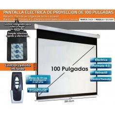 PANTALLA ELECTRICA 100 PULGADAS CON CONTROL REMOTO 220V 4:3 DAZA GRAN CALIDAD IMAGEN