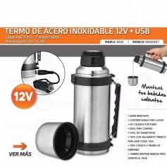 TERMO ACERO INOXIDABLE 1L 12V PARA AUTO O USB IDEAL OFICINAS Y VIAJES DAZA