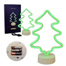 CARTEL LED ARBOL LUMINOSO LED NEON DECORATIVA A PILA O USB VERDE VELADOR