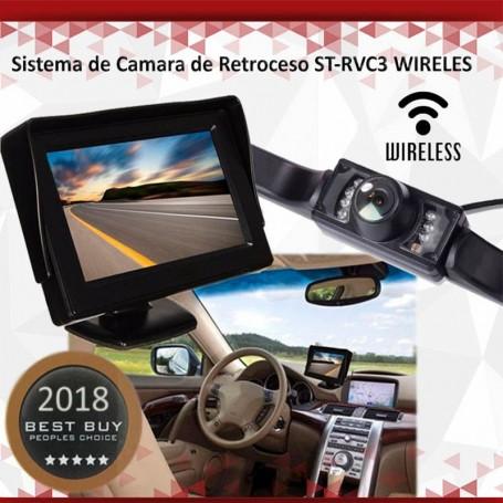 CAMARA RETROCESO PARA AUTO INALAMBRICA WIRELESS PANTALLA 4.3 PULGADAS ST-RVC3