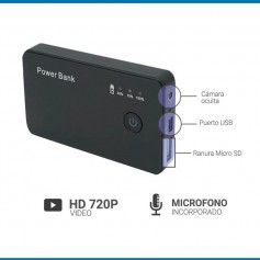 CAMARA ESPIA POWER BANK OCULTA HD 720P MINI GRABADOR MICROFONO SPY