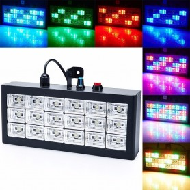 FLASH LED AUDIORITMICO RGB 18 LEDS DJ STROBE LUZ