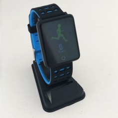 SMARTWATCH BAND FIT WEST F3 BLACK AND BLUE RELOJ INTELIGENTE CELULAR ANDROID IPHONE CONTADOR PASOS CALORIAS FRECUENCIA CARDIACA