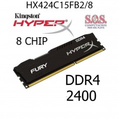 MEMORIA DDR4 8Gb 2400 MHz KINGSTON HYPERX FURY BLACK HX424C15FB2/8 PC