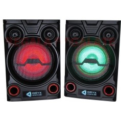 """PAR DE BAFLES ACTIVOS POTENCIADOS ORYX ENTRADA USB SD RADIO FM BLUETOOTH AUXILIAR 8"""" 300W CON LUCES LED RGB"""