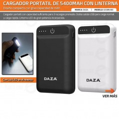 CARGADOR PORTATIL 5400MAH LINTERNA USB CELULAR POWER BANK DAZA