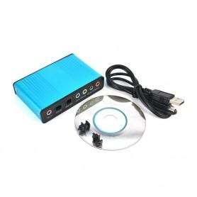 PLACA DE SONIDO USB 5.1 EXTERNA DIGITAL SALIDA Y ENTRADA OPTICA CABLE MINIUSB INCLUIDO
