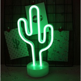 CARTEL LED CACTUS LUMINOSO LED NEON DECORATIVA A PILA O USB VERDE VELADOR