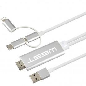 CABLE MHL HDTV WEST 3 EN 1 WHITE LIGHTING TYPE C MICRO USB IPHONE MOTOROLA SAMSUNG