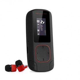 REPRODUCTOR MP3 BLUETOOTH 8GB ENERGY SISTEM RADIO FM RECARGABLE SOPORTA HASTA 64GB CON AURICULARES BLACK AND RED