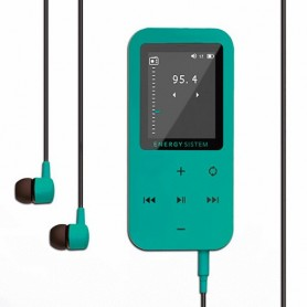 REPRODUCTOR MP4 TACTIL CON BLUETOOTH 8GB ENERGY SISTEM EXPANDIBLE 64GB FM VERDE AGUA CON STICKERS