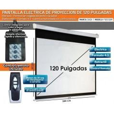 PANTALLA ELECTRICA 120 PULGADAS CON CONTROL REMOTO 220V 4:3 DAZA GRAN CALIDAD IMAGEN