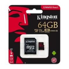 MEMORIA MICRO SD 64GB CLASE 10 KINGSTON CANVAS GO V30 U3 90MB/S 1080P 4K ULTRA HD CON ADAPTADOR SD