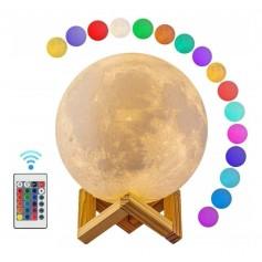LAMPARA LUNA LLENA 3D LIGHT MOON RGB CONTROL REMOTO 16 COLORES EFECTOS