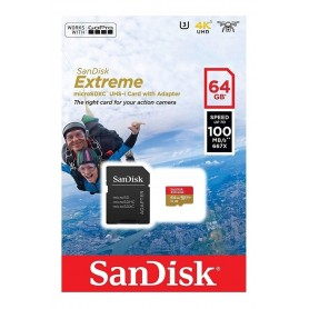 MEMORIA MICRO SD 64GB CLASE 10 SANDISK EXTREME UHS-1 U3 160MB/S 1080P 4K UHD CON ADAPTADOR SD