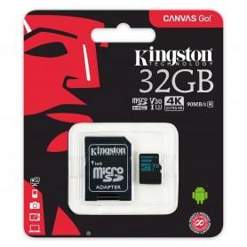 MEMORIA MICRO SD 32GB CLASE 10 KINGSTON CANVAS GO V30 U3 90MB/S 1080P 4K ULTRA HD CON ADAPTADOR SD