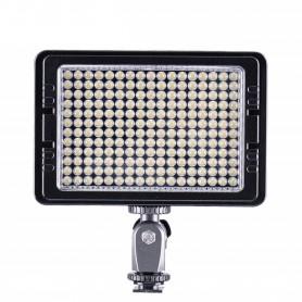 LUZ LED DE VIDEO PARA CAMARAS DE FOTO 204 LEDS 1440 LUMENS 12W LEDS BLANCOS + BATERIA + CARGADOR + FUENTE TOLIFO PTC204S