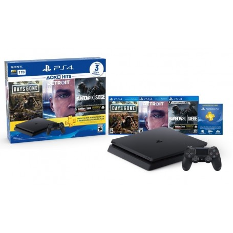 PLAYSTATION 4 PS4 CONSOLA SLIM 1TB + JOYSTICK + 3 JUEGOS + MEMBRESIA PS PLUS 3 MESES