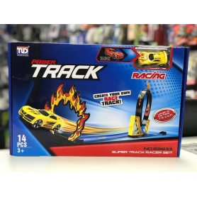 PISTA DE AUTOS TRACK POWER RACING 14 PIEZAS 154CM GIRO 360°