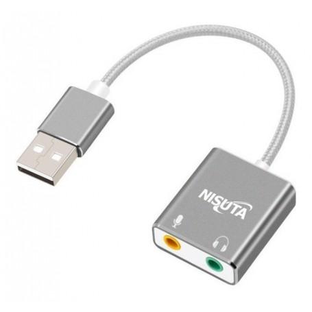 PLACA DE SONIDO USB NISUTA 7.1 AUDIO EXTERNAL SOUND CARD MICROFONO PARLANTE