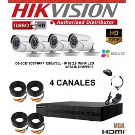 KIT 4 CAMARAS SEGURIDAD HD + DVR TURBO HD 720 HIKVISION + DISCO RIGIDO 1TB + CABLES + TRASNFORMADOR
