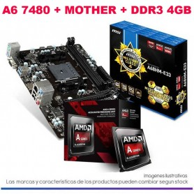 COMBO ACTUALIZACION AMD A4 6300 4,0GHZ 4GB DDR3 RAM MOTHER A68HM-E33 HDMI