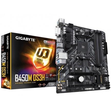 MOTHER GIGABYTE AMD GA-B450M DS3H SOCKET AM4 RYZEN DDR4 DVI-D HDMI USB 3.1