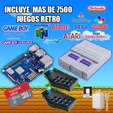 CONSOLA RETRO ARCADE RASPBERRY + GABINETE MINI NES + MEMORIA 32GB + FUENTE SONY 3A + 2 JOYSTICK ARCADE RETRO 8 BOTONES