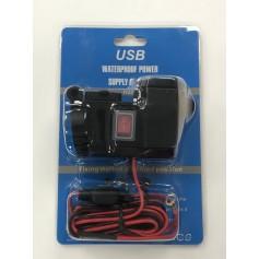 CARGADOR TOMA 12V USB X2 GPS CELULAR SOPORTE CAÑO MOTO SIES HBX4