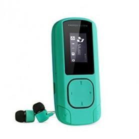 REPRODUCTOR MP3 8GB ENERGY SISTEM RADIO FM RECARGABLE SOPORTA HASTA 64GB CON AURICULARES VERDE AGUA 426478 MINT