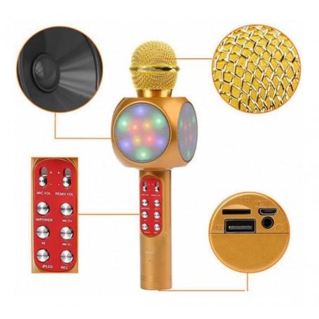 MICROFONO CON PARLANTE KARAOKE CON USB TF CARD Y LUCES RGB WIRELESS MICROPHONE HIFI SPEAKER WS-1816