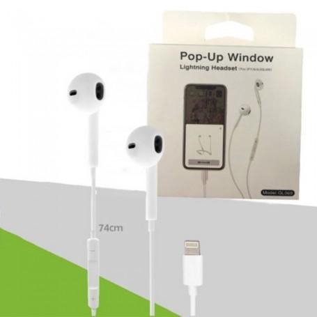 AURICULAR PARA IPHONE LIGHTNING POP UP RECONOCE COMO ORIGINAL EXCELENTE CALIDAD AUDIO