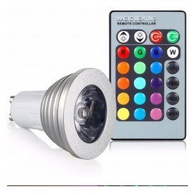 LAMPARA LED DICROICA RGB 3W GU10 FOCO STROBE FLASH + CONTROL REMOTO