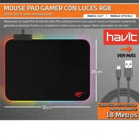 MOUSE PAD GAMER RGB HAVIT MOUSEPAD LUZ LED RGB RETROILUMINADO GAMING